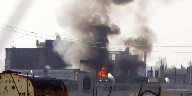 Bombardement à Homs, le 21 février 2012.