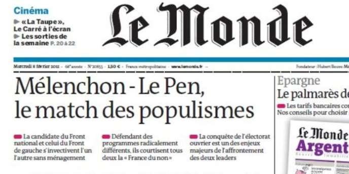 La manchette du Monde, mercredi 8 février 2012