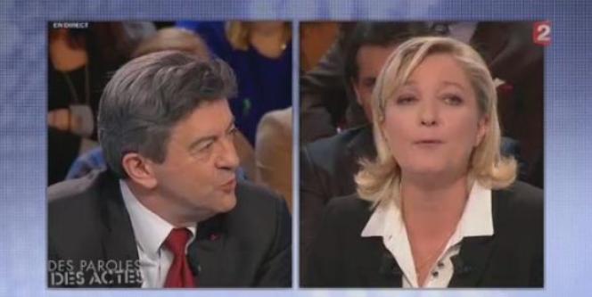 Jean-Luc Mélenchon et Marine Le Pen, le 23 février 2012.