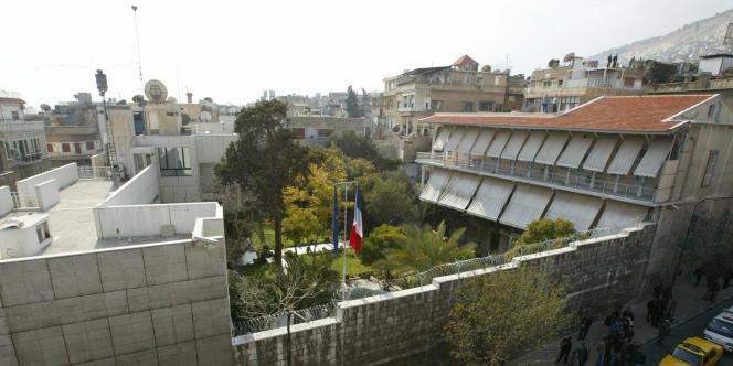 Vue de l'ambassade de France à Damas, en février 2006.