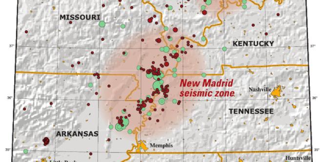 La zone sismique de New Madrid s'étend sur plusieurs Etats.