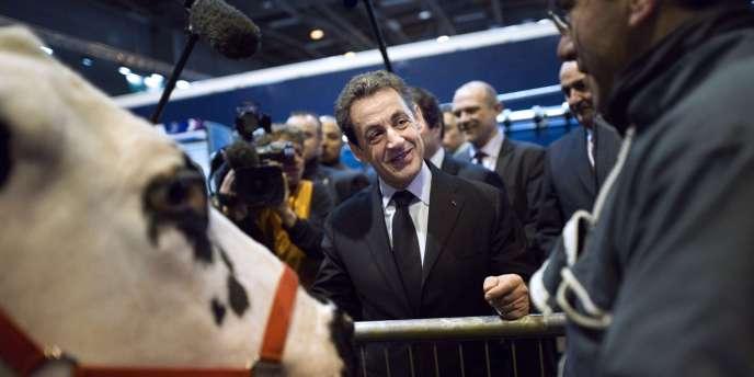 Nicolas Sarkozy, en visite au Salon de l'agriculture, samedi 25 février à Paris.