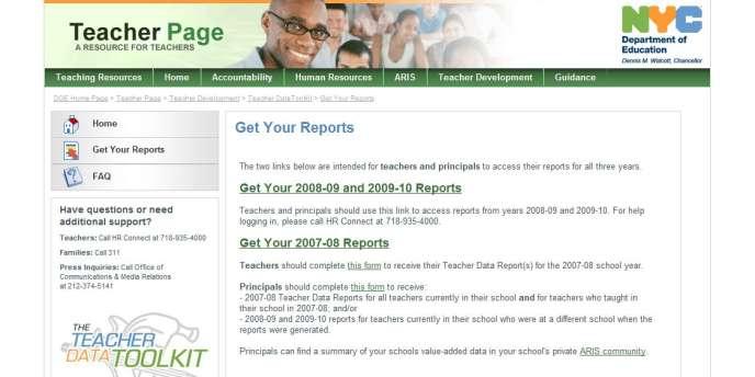 Capture écran du site du Département de l'éducation de New York.