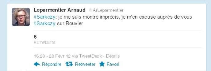Capture d'écran du compte Twitter d'Arnaud Leparmentier, journaliste au
