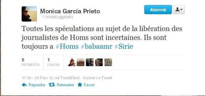 Capture écran du compte Twitter de Monica Garcia Prieto.