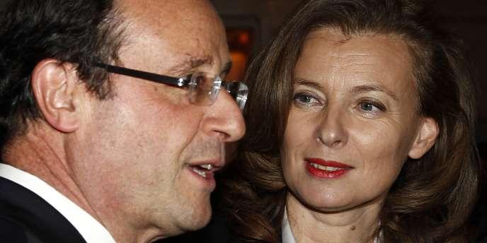 François Hollande et sa compagne, Valérie Trierweiler, le 8 février au dîner du Crif.