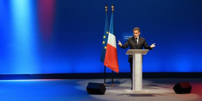 Nicolas Sarkozy en meeting à Montpellier, le 28 février, pour présenter son projet pour l'éducation.