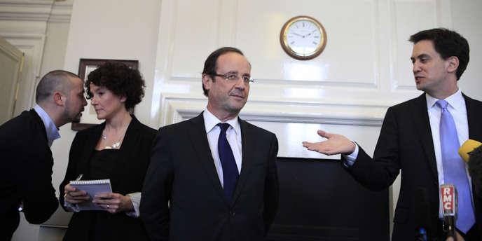 François Hollande et le leader du parti travailliste Ed Miliband à Westminster, mercredi.