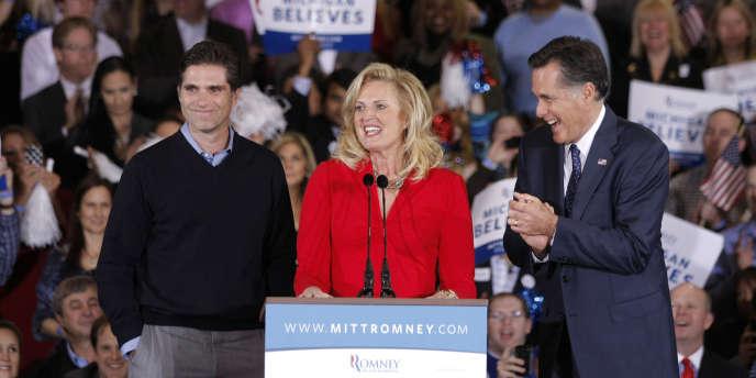 Ann Romney intervient, fin février, le soir de la victoire de son mari dans les primaires du Michigan et de l'Arizona.