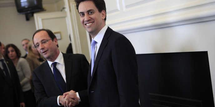 François Hollande et Ed Miliband, chef du parti travailliste, à Londres, le 29 février 2012.