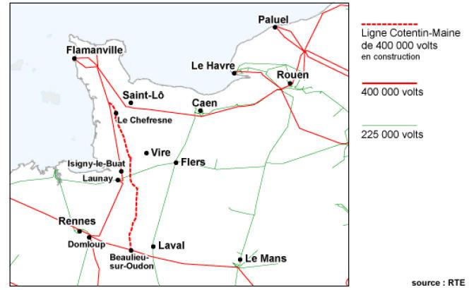 Le tracé de la ligne à très haute tension Cotentin-Maine.