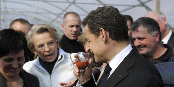 Nicolas Sarkozy et Michèle Alliot-Marie au Pays basque, jeudi 1er mars.