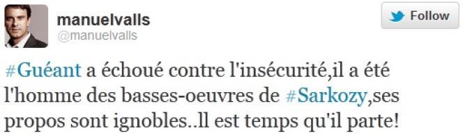 Tweet de Manuel Valls, vendredi 2 mars.