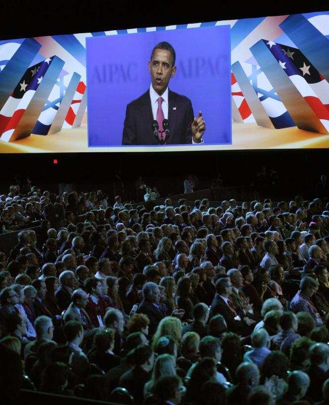 Lors du discours du président américain, Barack Obama, à l'American Israel Public Affairs Committee (AIPAC), au centre de congrès de Washington, le 4 mars 2012.