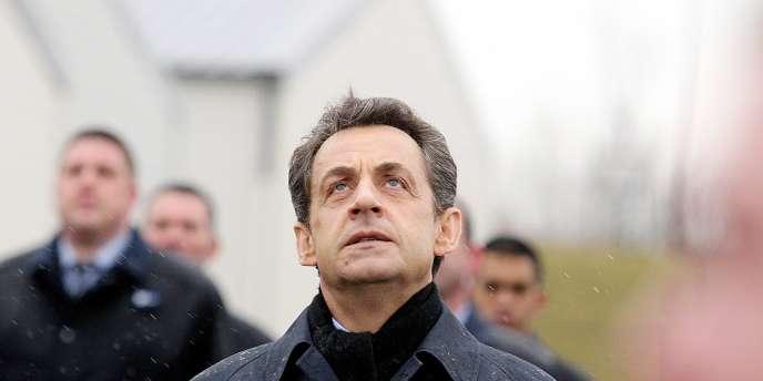 Nicolas Sarkozy, lors d'une visite à Saint-Quentin (Aisne), le 5 mars 2012.