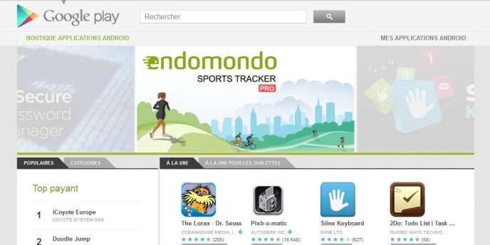 La page d'accueil de la plateforme de distribution numérique Google Play.