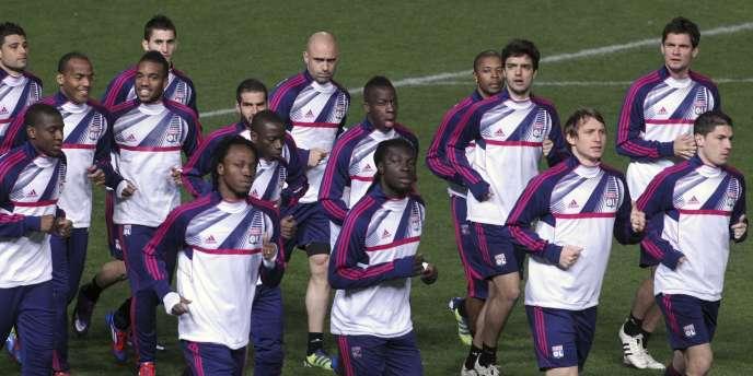 Les Lyonnais à l'entrainement, le 6 mars à Nicosie.