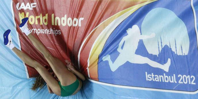 Concours du saut en hauteur lors des Mondiaux en salle à Istanbul, le 9 mars.