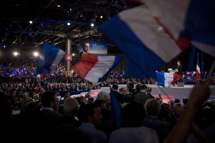 Lors du meeting de Nicolas Sarkozy à Villepinte (Seine-Saint-Denis), le 11 mars.