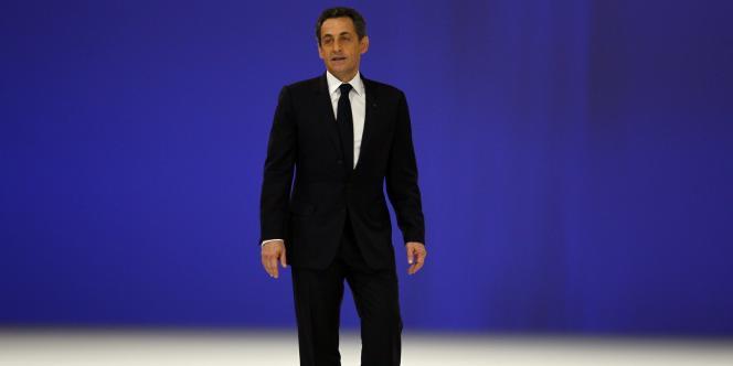 Nicolas Sarkozy en meeting à Villepinte le 11 mars.