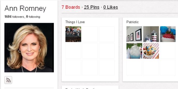 Page Pinterest d'Ann Romney