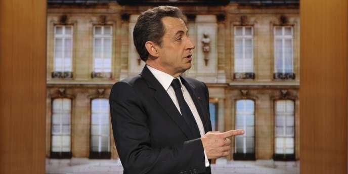 Nicolas Sarkozy, le 12 mars 2012, sur le plateau de l'émission Parole de candidat, diffusée sur TF1.