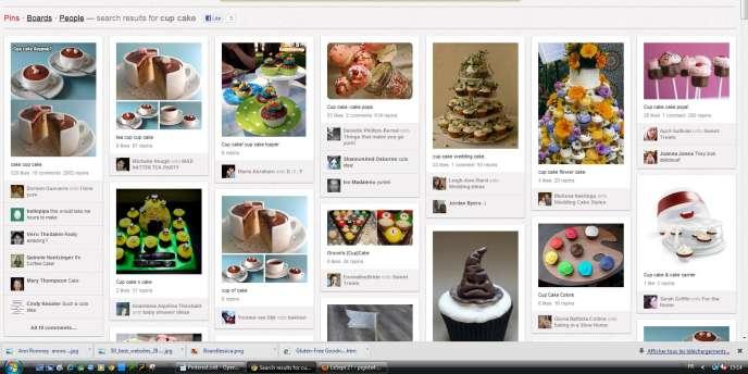 Une page Pinterest consacrée aux gateaux