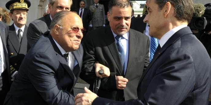 Nicolas Sarkozy et le recteur de la Grande Mosquée de Paris, Dalil Boubakeur, le 14 mars.
