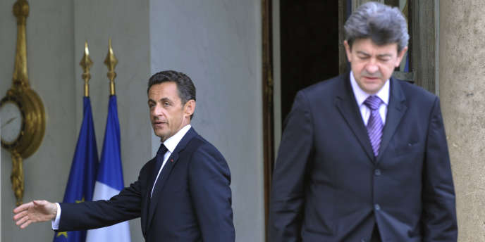 Jean-Luc Mélenchon et Nicolas Sarkozy à l'Élysée, le 12 juin 2009.