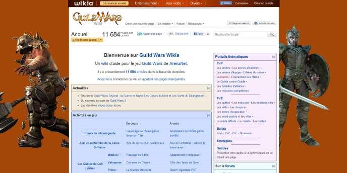 Une page de Wikia, dédié au jeu de rôle