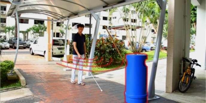 La Singapourienne Selene Chew, 24 ans, a créé une canne blanche intelligente, dont la poignée n'est autre qu'un smartphone connecté à des écouteurs.