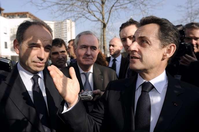 Jean-François Copé et Nicolas Sarkozy, le 16 mars 2012, à Meaux (Seine-et-Marne).