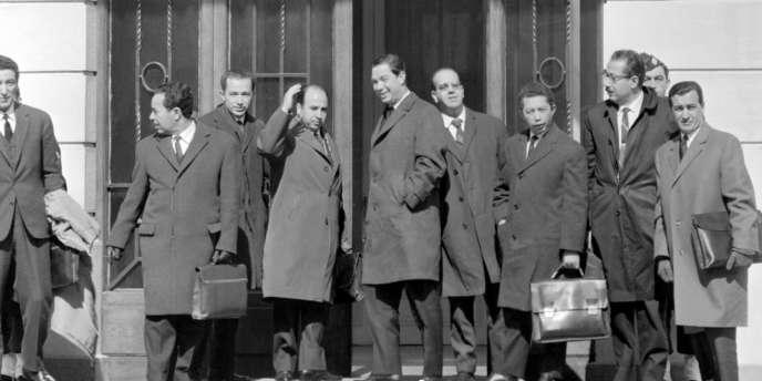 Arrivée de la délégation algérienne à Evian, le 17 mars 1962.