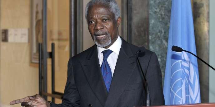 Kofi Annan, l'émissaire de l'ONU et de la Ligue arabe pour la Syrie, à Genève, le 16 mars.