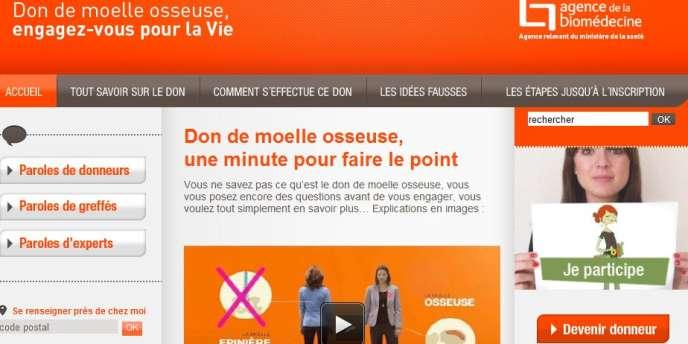 Campagne Internet pour le don de moelle osseuse.