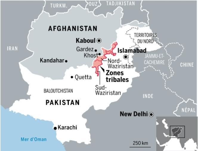 Les zones du Pakistan et d'Afghanistan où le tueur présumé aurait séjourné et aurait été entraîné.