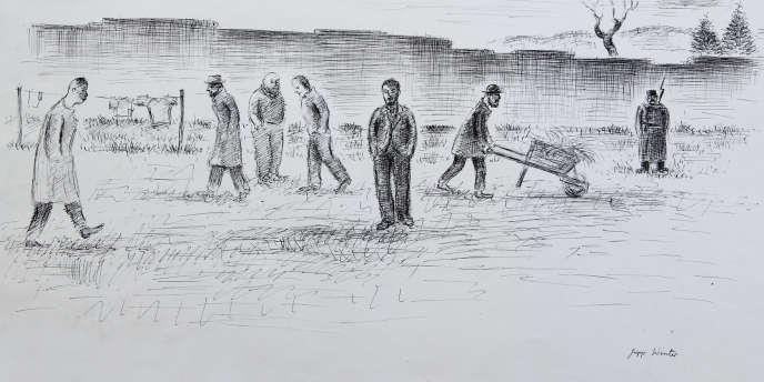 Dessin à l'encre de Chine réalisé par l'Allemand Jupp Winter représentant un groupe d'hommes placés sous la surveillance d'un garde armé.