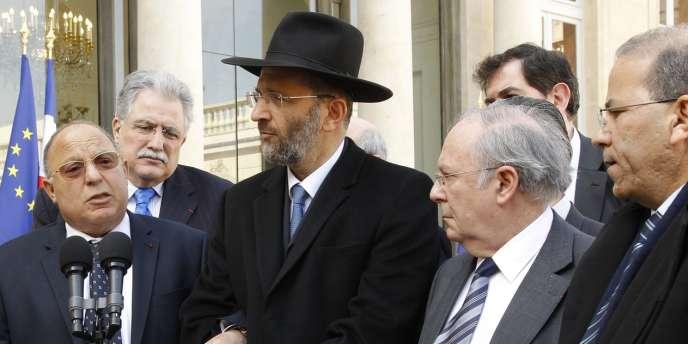 Représentants juifs et musulmans sont reçus à l'Elysée le 21 mars peu après la tuerie de Toulouse.