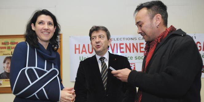 Myriam Martin aux côtés de Jean-Luc Mélenchon le 15 mars à Limoges