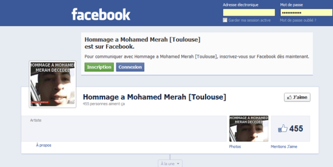 Capture d'une page d'hommage à Mohamed Merah sur Facebook, réalisée par le site Numerama.