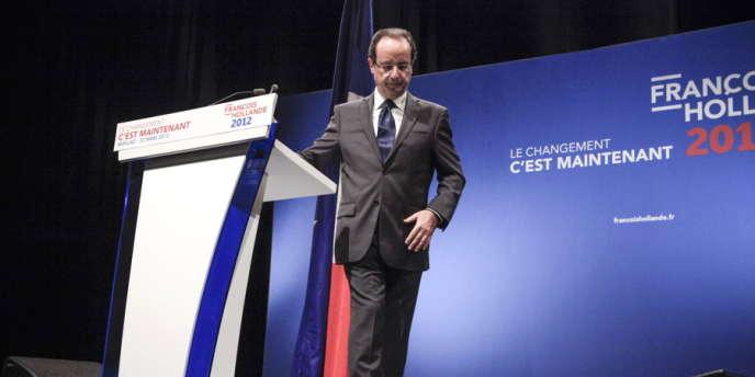 François Hollande, en meeting à Aurillac, jeudi 22 mars.