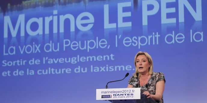 Marine Le Pen, en meeting près de Nantes, le 25 mars.