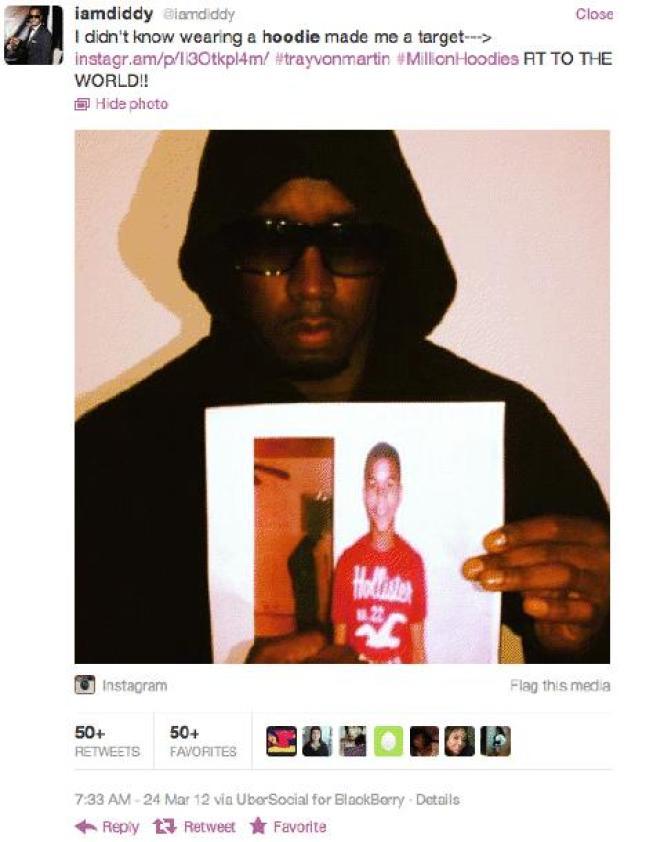 Capture d'écran du compte Twitter du rappeur Sean Combs : @iamdiddy.