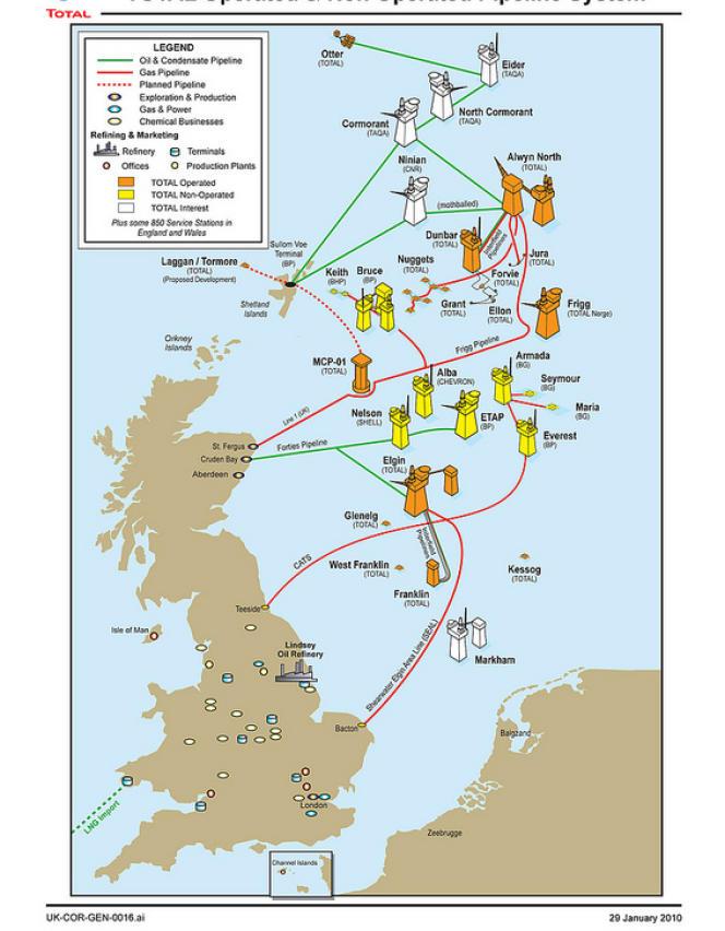 Les plateformes de Total et de ses partenaires en mer du Nord