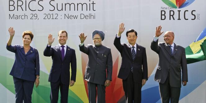 Manmohan Singh (Inde), Hu Jintao (Chine) et Jacob Zuma (Afrique du Sud), lors du sommet des Brics, le 29 mars 2012.