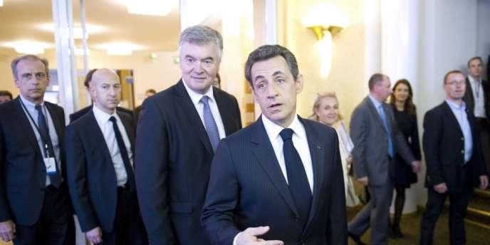 Nicolas Sarkozy à la Maison de la Chimie, samedi 31 mars.