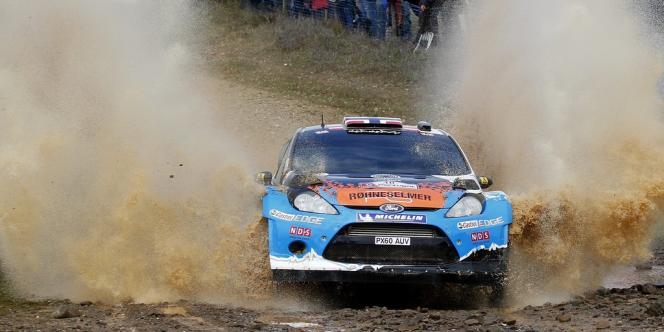 Mads Ostberg en action, lors du rallye du Portugal.