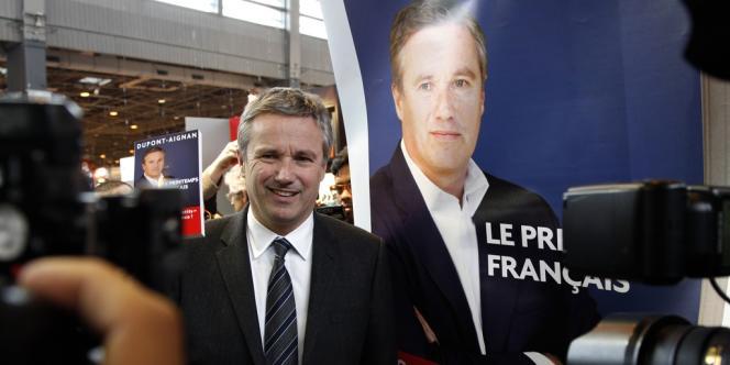Nicolas Dupont-Aignan, le 15 mars 2012 à Paris.