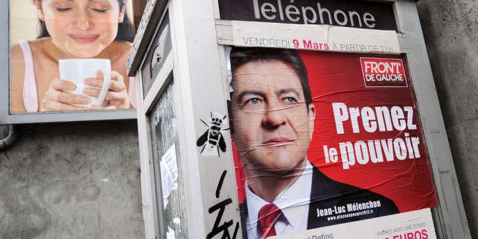 Une affiche de campagne électorale du candidat du Front de gauche, Jean-Luc Mélenchon, à Toulouse, en avril 2012.