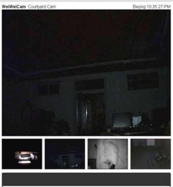 Image extraite mardi à 16 h 35 (22 h 35 à Pékin) des webcams placées chez l'artiste Ai Weiwei.